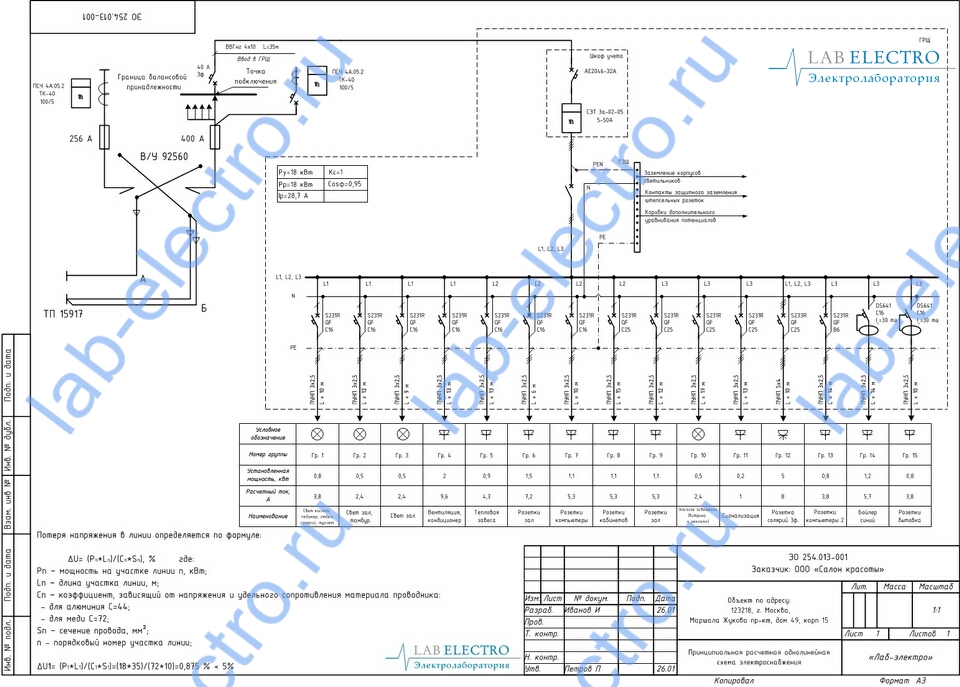 Как выполняется однолинейная схема электроснабжения.